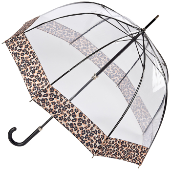 Fulton Luxe Birdcage Clear Dome Umbrella - Natural Leopard