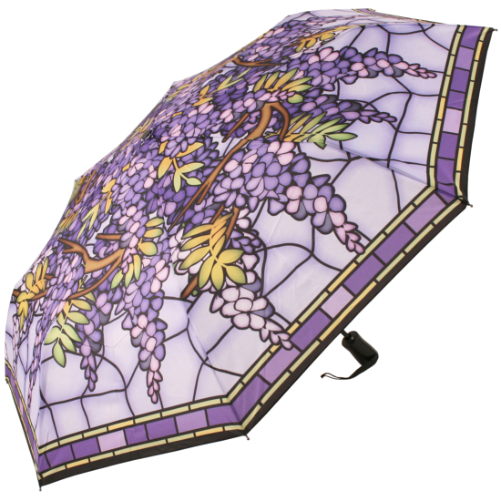 Galleria Art Print Auto Open & Close Folding Umbrella - Stained Glass Hanging Wisteria