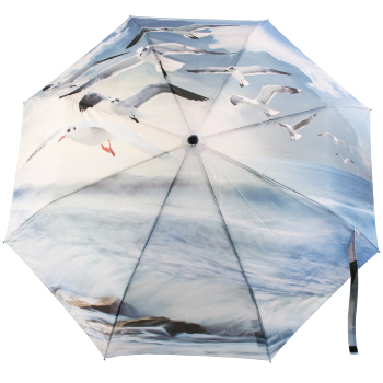 Galleria Art Print Auto Open & Close Folding Umbrella - Seagulls