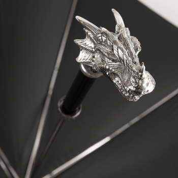 Luxury Gents Umbrella with Chrome Dragon's Head Handle by Pasotti