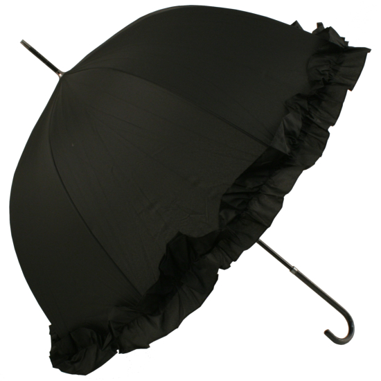 Abbi Domed Frilled Wedding Umbrella - Black