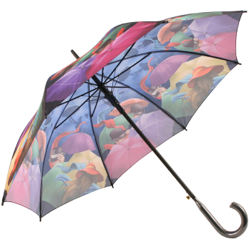 Galleria Art Print Walking Length Umbrella - Stormy Night