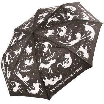 Black/White Raining Cats & Dogs Folding Umbrella