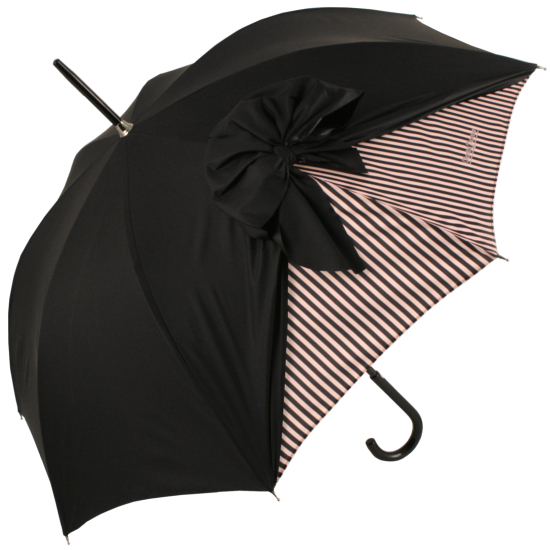 Drape Bow Umbrella Pinstripe Blush Pink by Chantal Thomass