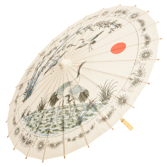 Chinese Paper and Bamboo Parasol - Cranes