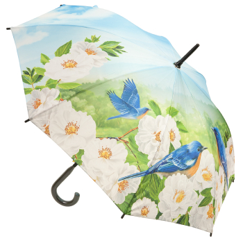 Galleria All Over Art Print Walking Length Umbrella - Bluebirds