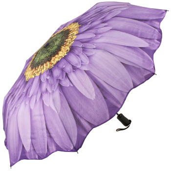 Galleria Art Print Auto Open & Close Folding Umbrella - Purple Gerbera