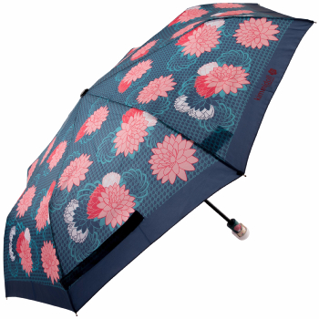 Kimmidoll 'Hanae' Folding Umbrella - Navy, Pink & Green Oriental Floral