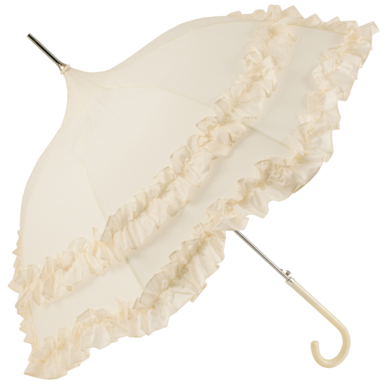 Cream Pagoda Umbrella with Double Flounce Frill by Molly Marais
