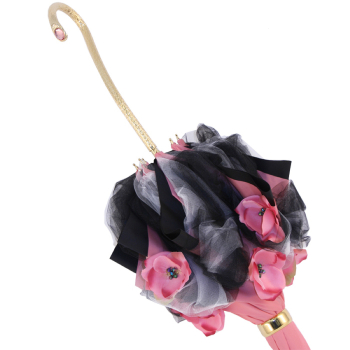 Exclusive Luxury Flora Rose Net Double Canopy Ladies Umbrella by Pasotti