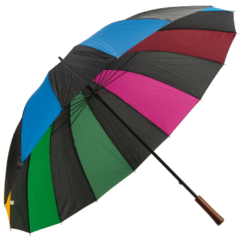 16 Rib Multicolour Golf Umbrella - Black