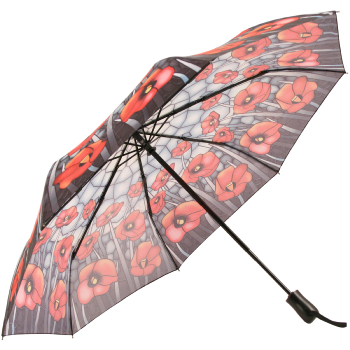 Galleria Art Print Auto Open & Close Folding Umbrella - Stained Glass Poppies