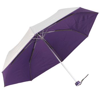UV Protective Lightweight Folding Umbrella - Silver & Purple