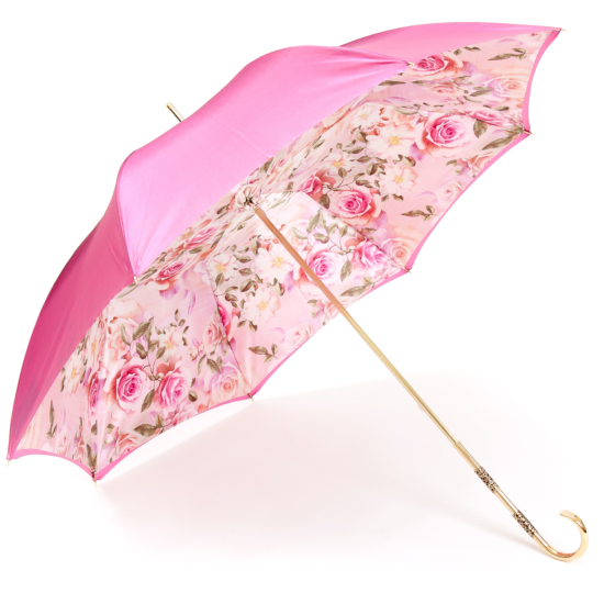 Floral Pink Double Canopy Luxury Umbrella by Pasotti