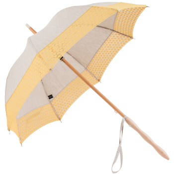 Leonie UVP Beige Parasol with Yellow Daisy Border by Pierre Vaux