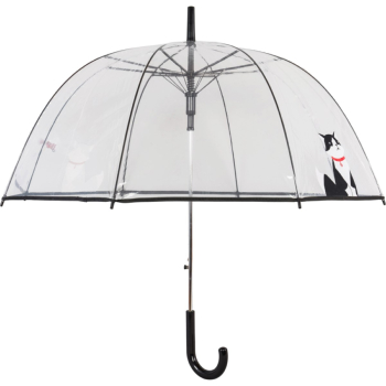 Clear See-through Dome Umbrella - Black & White Cat