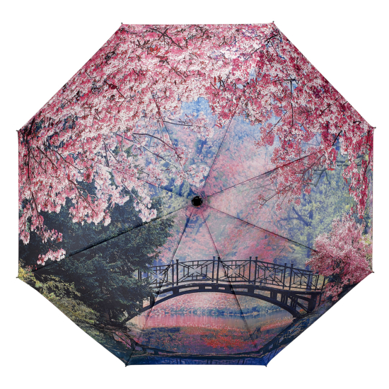Galleria All-Over Art Print Auto Open & Close Folding Umbrella - Cherry Blossoms