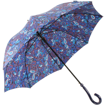 Paisley Walking Length Umbrella by Joy Heart - Blue