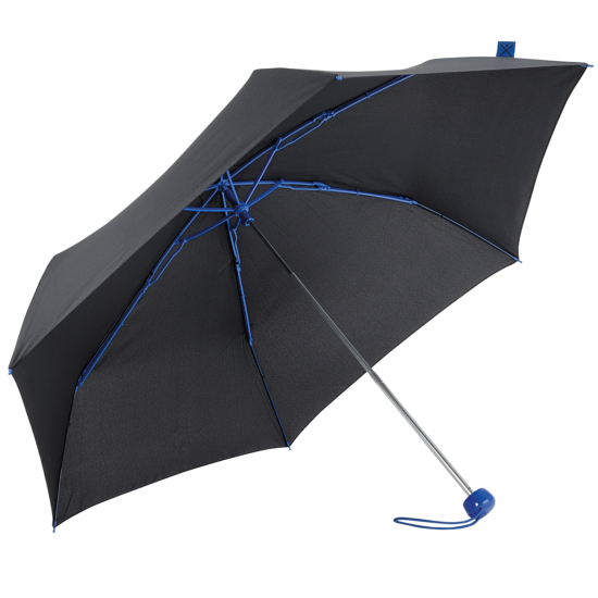 Contrast Blue - Folding Umbrella with Coloured Ribs
