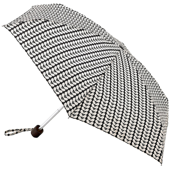 Orla Kiely Tiny Folding Umbrella - Black & Cream Small Bi-Colour Stem