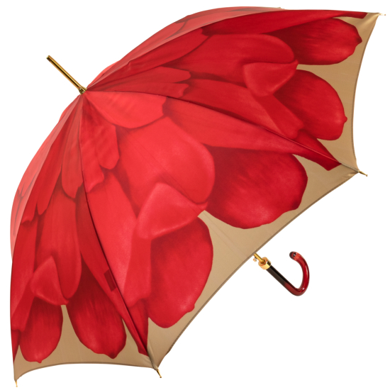 Dahlia Red Single Canopy - Luxury Ladies Automatic Umbrella by Pasotti