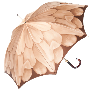 Dahlia Mocha Single Canopy - Luxury Ladies Automatic Umbrella by Pasotti