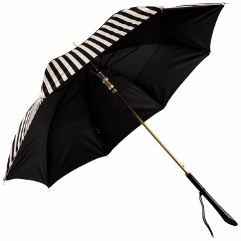 Fantasia Charcoal/Cream Striped Automatic Umbrella with Straight Handle by Pasotti