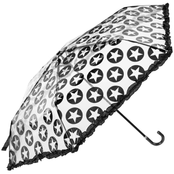 Susino Clear Mini Folding Umbrella - Black Stars