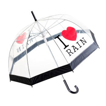 I Love Rain PVC Dome Umbrella