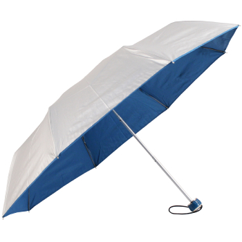 UV Protective Lightweight Folding Umbrella - Silver & Blue