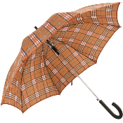 Country Check Umbrella with Brown Binding