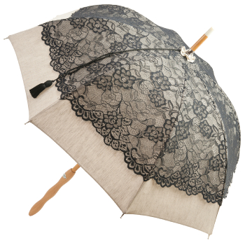 Chloe - UVP Black French Embroidered Lace Parasol by Pierre Vaux