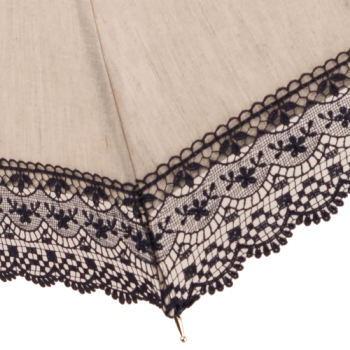 Mathilde - UVP Beige Parasol with Navy Lace Bands by Pierre Vaux