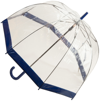 Soake Clear Deep Dome Umbrella - Navy Blue Trim