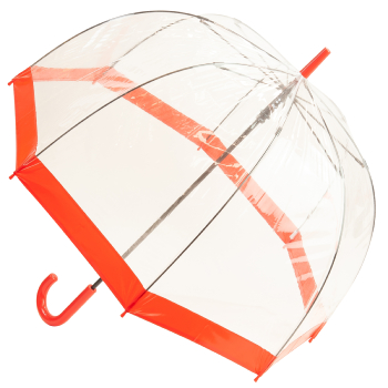 Soake Clear Deep Dome Umbrella - Red Trim