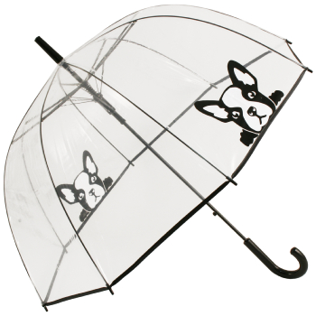 Clear See-through Dome Umbrella - French Bulldog