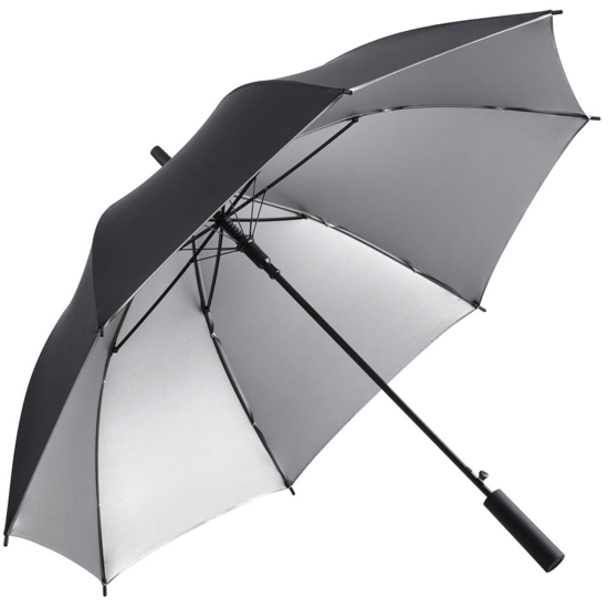 UV Protective SPF50+ Two-Tone Automatic Opening Walking Length Umbrella - Black & Silver