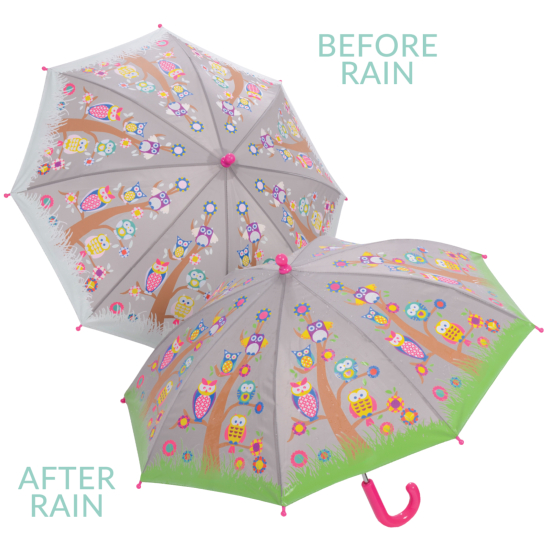 Colour Changing Childrens Umbrella - Owls