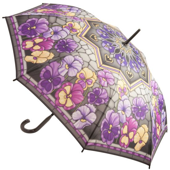 Galleria Art Print Walking Length Umbrella - Stained Glass Pansies