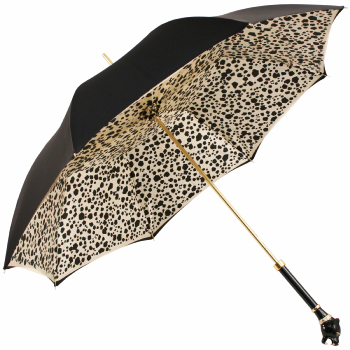 Bellezza Double Canopy Umbrella with Swarovski Crystals and Enamelled Panther Handle by Pasotti