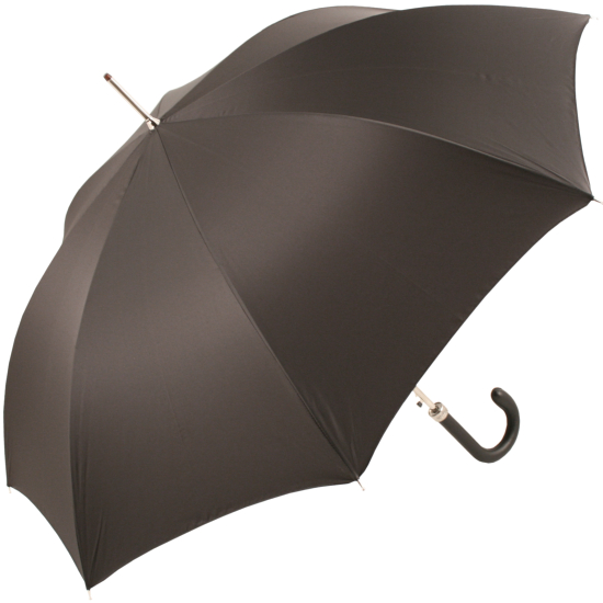 Luxury Gents Black Umbrella with Black Leather Handle by Pasotti