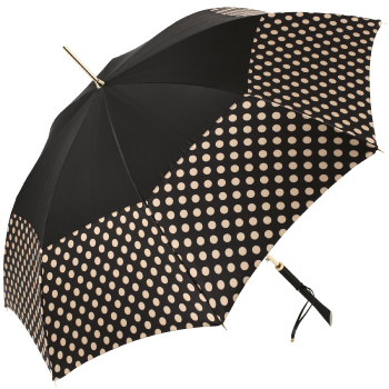 Fantasia Charcoal/Cream Polka Dot Automatic Umbrella with Straight Handle by Pasotti