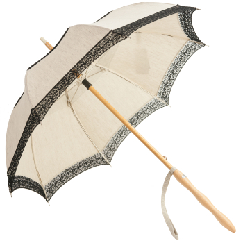Eleonore - UVP Beige Parasol with Black Curl Lace Bands by Pierre Vaux