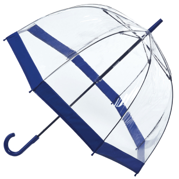 Fulton Birdcage Clear Dome Umbrella - Navy Trim