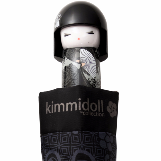 Kimmidoll 'Shigemi' Folding Umbrella - Black & Grey Oriental Floral