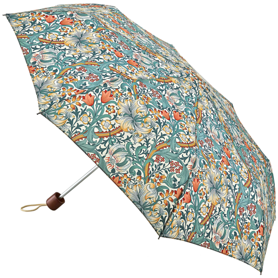 Morris & Co Minilite by Fulton - Lightweight Folding Umbrella - Minor Golden Lily Slate Manilla