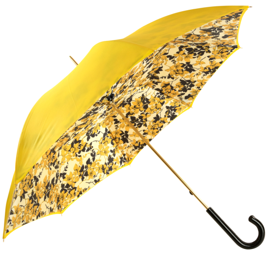 Glamour Floral Yellow Luxury Double Canopy Umbrella by Pasotti