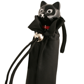 Cat Folding Umbrella by Rainbow of Milan - Black
