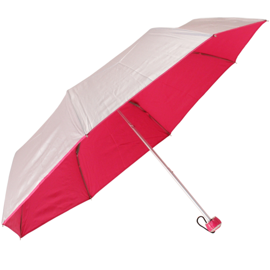 UV Protective Lightweight Folding Umbrella - Silver & Pink