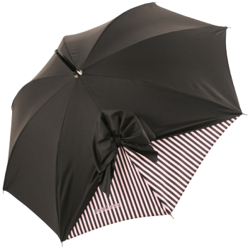 Drape Bow Parasol in Black and Pink Stripes by Chantal Thomass